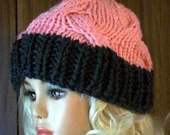 Chunky Knit Hat with Cables Gray and Pink  Hat Warm Winter Womens Hat