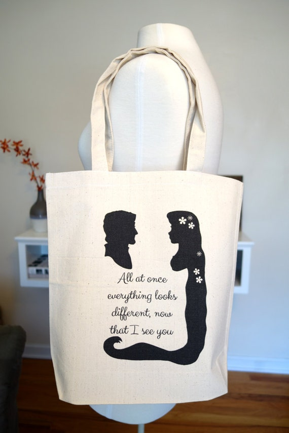 tangled tote bag, rapunzel, flynn rider, floating lanterns, disney tote bag, disney, tangled