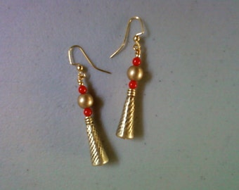 Red and Gold Earrings (1490)