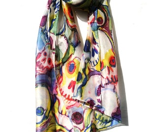 Silk scarf shawl - hand painted skulls - gothic fashion