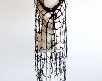 Spider Web Gothic Clothing Scarf - Cobweb Felt Scarf Wrap in Black
