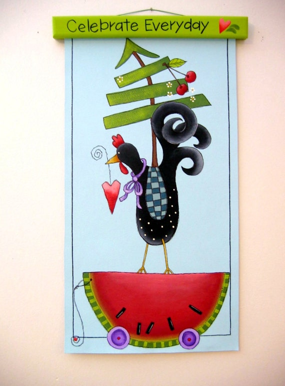 Folk Art Chicken standing on Watermelon holding Heart in Beak , Evergreen Tree and Cherries, Tole Painted on Canvas, Year Round Sign