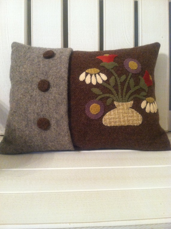 Wool Applique Decorative Floral Pillow Cover By