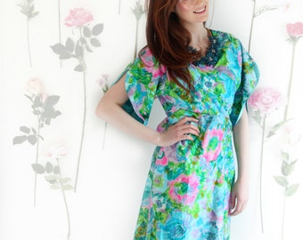 Kim, Vintage, 1950s Floral Turquoise and Pink Kimono Sleeve Dress, from Paris