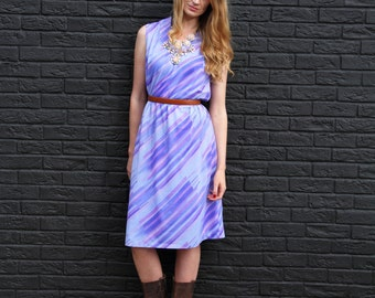 Lavande, Vintage, 1970s Purple Stripe Midi Dress, from Paris