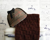 Chocolate Brown Scarf Hand Knit Checkerboard for Men, Ready to Ship