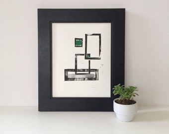 Minimalist Contemporary Geometric abstract squares monoprint 8 x 10 in black, gray, and forest green modern art