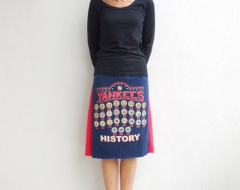 New York Yankees T Shirt Skirt Straight Gray Navy Blue Red Casual Drawstring Knee Length Skirt Cotton Skirt Soft Fashion Skirt ohzie
