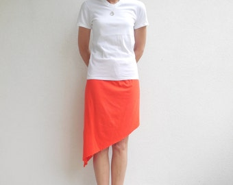 Women's T Shirt Skirt Asymmetric Skirt Tee Skirt Orange Recycled Upcycled Straight Cotton Handmade For Her Soft Fun Fashion Fall ohzie
