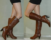 vintage 80s boots size 8 8.5 zip up brown leather campus boots