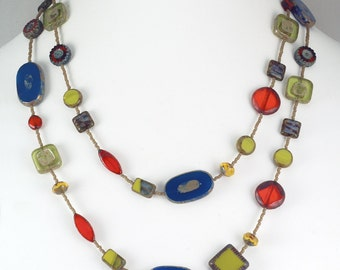 Blue, Orange and Chartreuse Long Czech Glass Bead Necklace