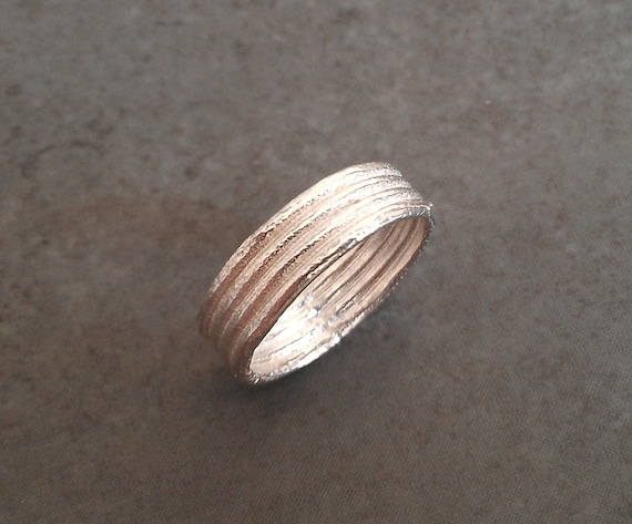Rustic Silver Wedding Band - 6mm - Grooved Wedding Band - Sterling Silver - Made to Order