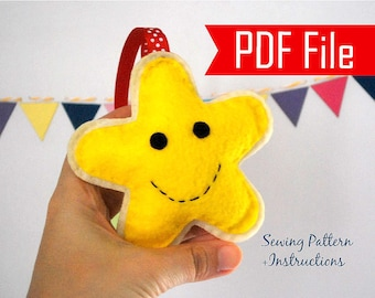 Happy Star Felt Christmas Ornament PDF gingerbread cookie Ornament Instant Download  A870