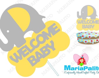 Elephant Centerpiece, Elephant Centerpiece, Welcome Baby Personalized Birthday Centerpiece, Personalized Party Sign A1075