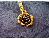 Gold Rose Necklace - Antique Gold Pewter Rose Charm on a Delicate Gold Plated Cable Chain or Charm Only