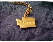 Tiny Gold Washington State Necklace - Raw Brass Washington Charm on a Delicate 14kt Gold Filled Cable Chain or Charm Only
