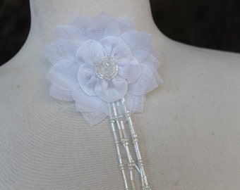 Cute   flower made from organza  with pin back and beads   1 piece listing white color