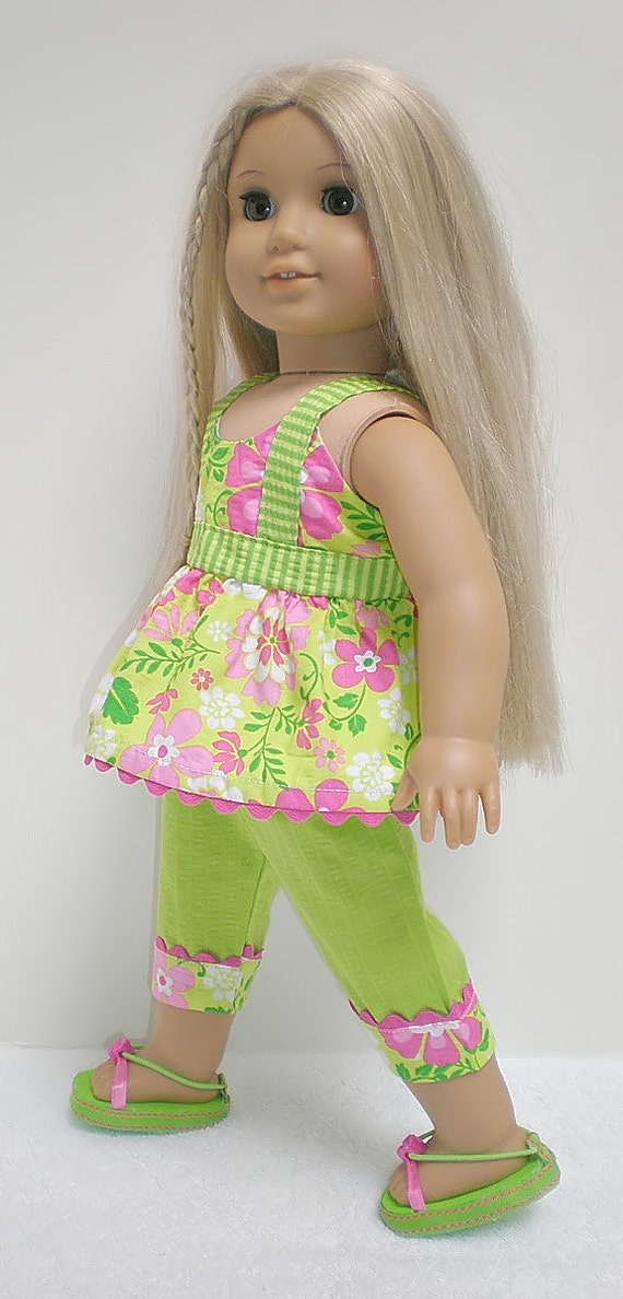 American Girl Doll 18 inch Sleeveless Top, Capri and Sandal Set