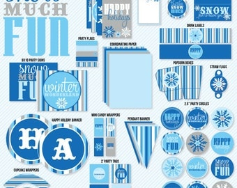 Snowflake Winter Wonderland Party PRINTABLE by Love The Day