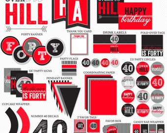 Over The Hill 40th Birthday Party PRINTABLE (INSTANT DOWNLOAD) by Love The Day