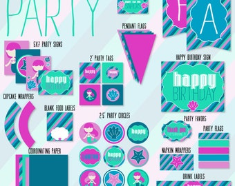Mermaid Party PRINTABLE Full Collection by Love The Day