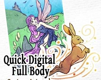 COMMISSION: QUICK Digital Full Body - 1 Character Full Body - Custom Art, Commissioned Art, Tattoo Design