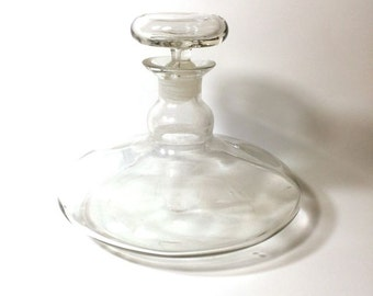 Glass Decanter with Stopper. Short Squat Glass Clear Vintage Liquor Wine