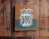 Owl Art, Original Painting of Japanese Owl Radio, Small Painting of Vintage Radio on Reclaimed Wood