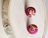 Maureen - upcycled bicycle button covered post earrings - repurposed bikes vintage necktie - maroon and yellow bikes - bicycles - bike