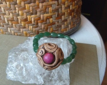 Bracelet, Pink Howlite, Green Aventurine, Meditation with Swirl Buddha Bead Raw Rough Natural Pixie Handmade Woodland Collection