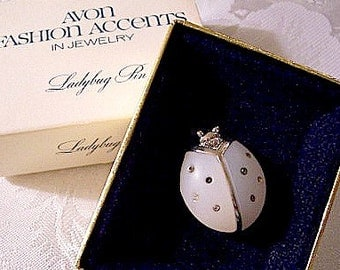 White Frosted Crystal Ladybug Pin Brooch Silver Tone Vintage Round Eye Beads Striped Back