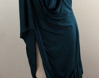 Teal Long elegant drape teal tunic with exposed thigh on one side