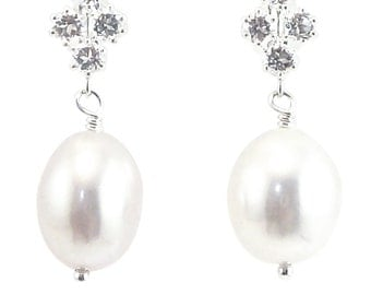 Principessa white topaz and freshwater pearl earrings in sterling silver