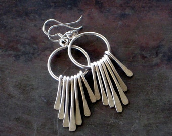 Sterling Silver Spike Earring, Free Dangle Spikes, Bohemian Jewellery, Sterling Silver Spears, Modern  Jewellery Gift Under 60
