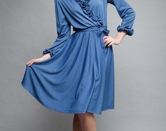 vintage 70s dress blue ruffles slinky long sleeves deep plunging neckline ONE SIZE