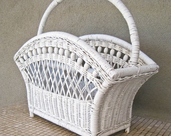 50% Off White Wicker Magazine Holder / Towel Holder / Double Wicker Magazine Storage