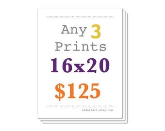 Any Three Prints 16x20 Size