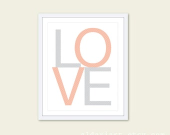 LOVE Art Print - Peach and Grey Home Decor Typography Poster - Baby Nursery