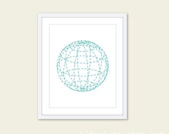 Geometric Sphere Globe  Art Print - Modern Minimalist - Simple Poster Wall Art Decor - Turquoise Blue and White