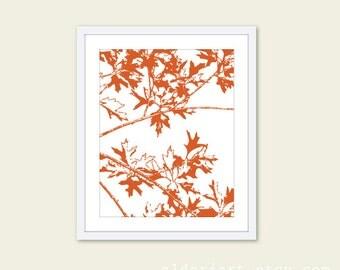 Autumn Tree Branches Wall Art - Modern Maple Leaves Print - Nature Home Decor - Woodland - Pumpkin Rust Orange - Aldari Art