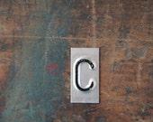 vintage industrial letter  C / metal letters / letter art