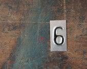 vintage industrial number 6 / metal letters / letter art