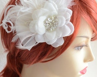 MADE TO ORDER,Hair Flower,Ivory Hair flower,Rhinestones,pearls,Feathers,1920s hair flower,Headpiece,Vintage flower,Art Deco,Style D016