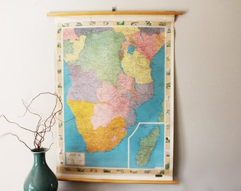 Bright Vintage Wall Map, School Roll Up Map of Africa, Central and Southern No. 5