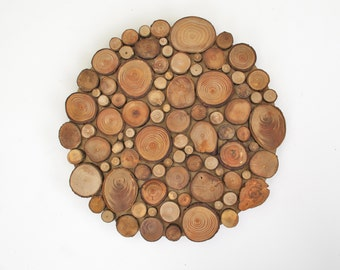 Rustic Circular Wood Tree Slice Centerpiece Decorative Wall Art Wooden Rounds Wood Slice