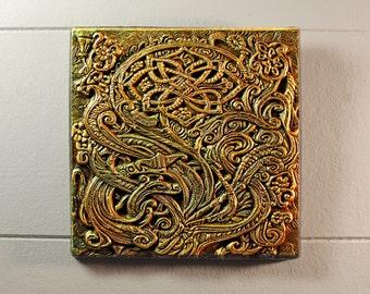 Floral Fantasy Cast Stone Art Sculpture, Celtic Knot Engraved Stone Wall Plaque Carving, Irish Home Decor, Ireland Art