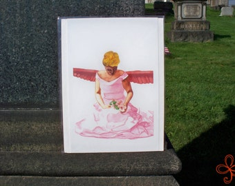 Pink Angel Watercolor Painting PRINT