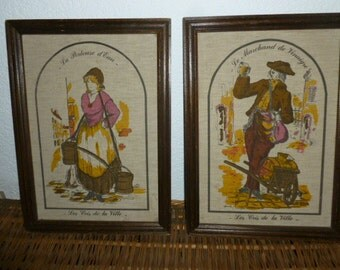 Pair, Vintage French Country Framed Textile Wall Art, French Vendors