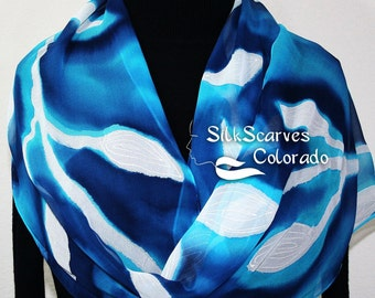 Hand Painted Silk Scarf Sea Forest. Scarf in Turquoise, Navy Blue, White. Extra-LONG 11x90. Silk Scarves Colorado. 100% silk. MADE to ORDER.