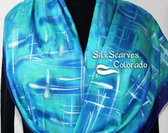 Silk Scarf Handpainted. Turquoise, Royal Blue Hand Painted Shawl. Handmade Silk Wrap ICY FIELDS. Large 14x72. Bridesmaid, Mother Gift.